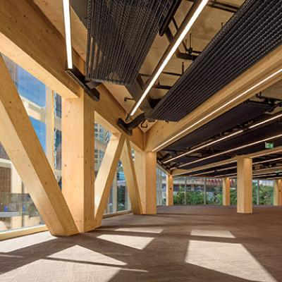 Glulam structure with chilled beams