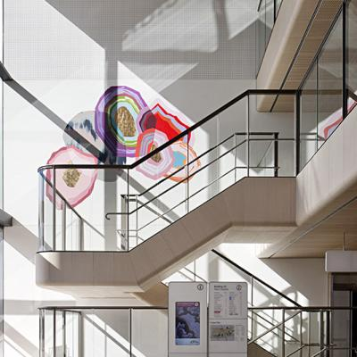 Timber stairs with artwork